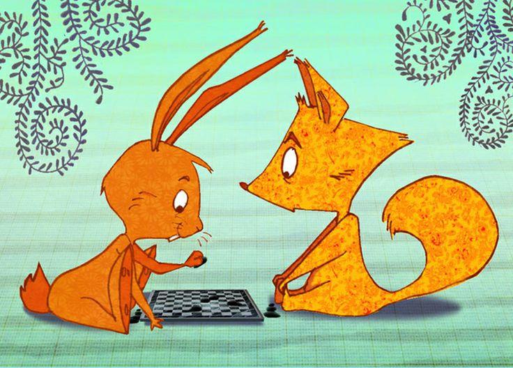 Carte postale : jeux d'échec entre lapin & écureuil