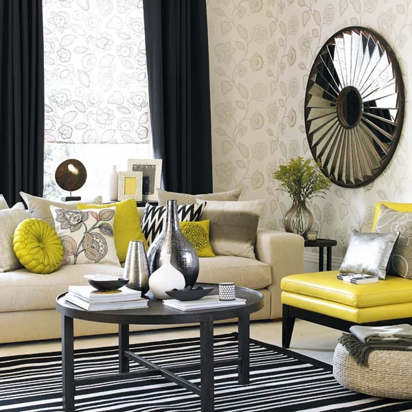 Black,yellow And Grey  Stunning Combo. Gray YellowColor YellowLiving Room  DecorationsLiving ...