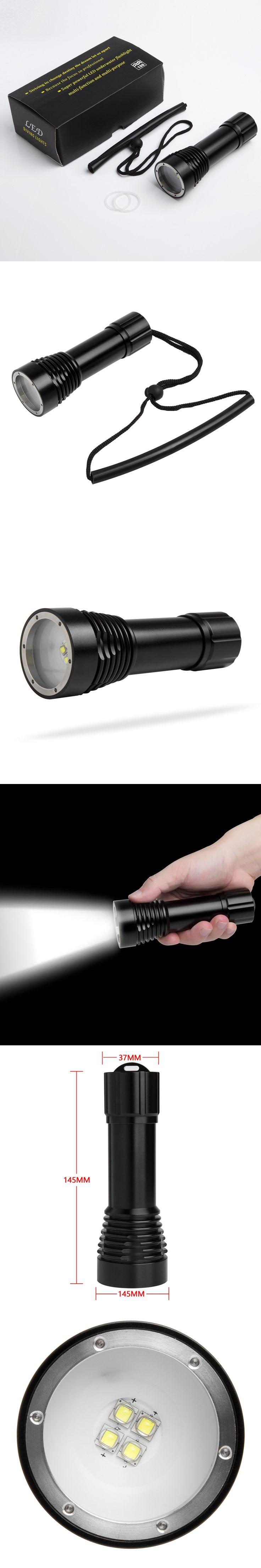 Underwater 100m Diving LED Flashlight Diving Video D34VR 5000LM 4xCree XM-L L2 White Light video Scuba Dive Torch Lamp by 26650