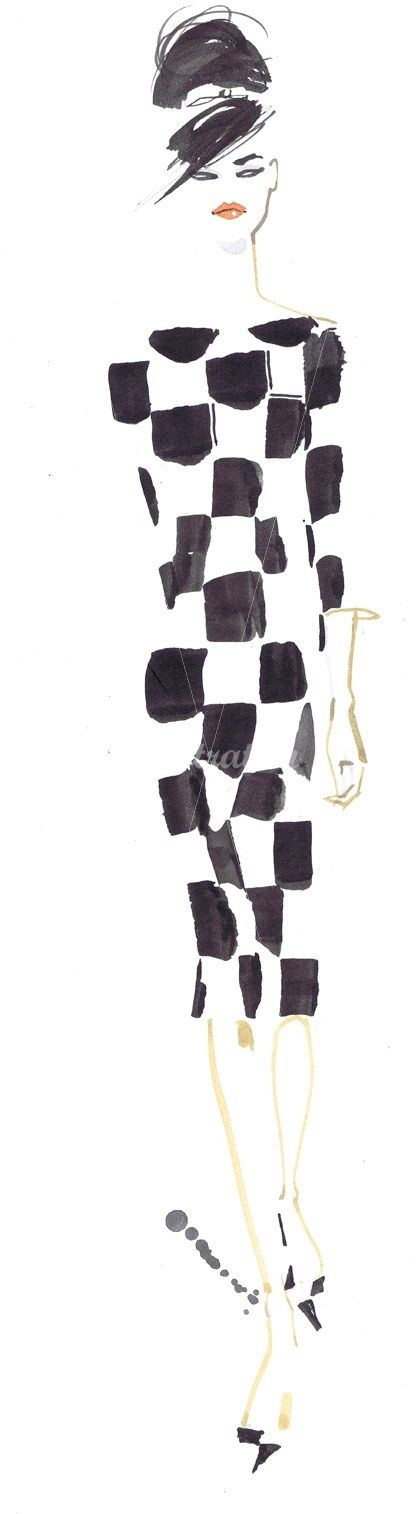 Jacqueline Bissett fashion illustration