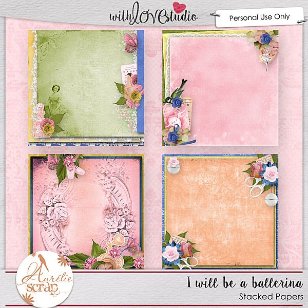 """Stacked Papers """"I Will Be A Ballerina"""" by Aurélie Scrap. I create for you 4 stacked papers if you are in lack of Inspiration. It contains : 4 stacked-papers"""