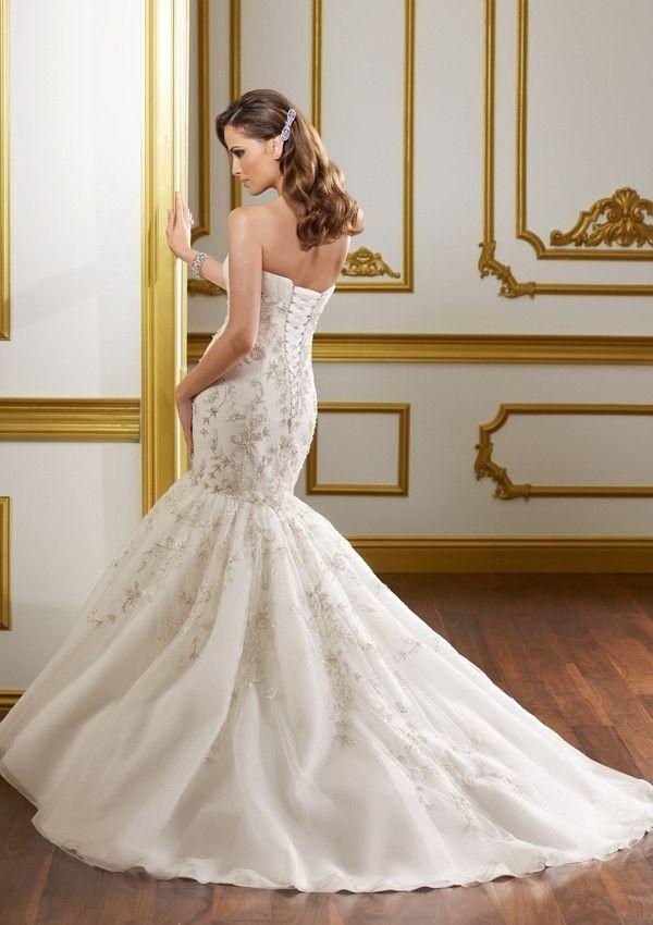 Sweetheart Court Train Mermaid Organza Wedding Dress(WD0639)