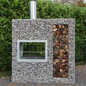 Barbecue gabion bois vertical