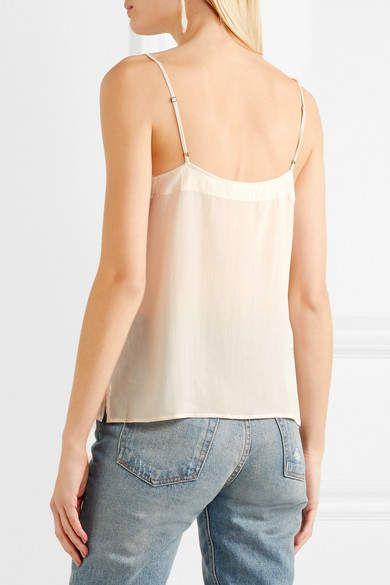 ade6925f026 Anine Bing Lace-trimmed Washed-silk Camisole - Beige #Lace#trimmed ...