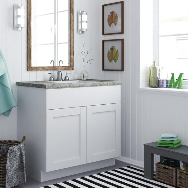 Picture Gallery For Website For main bath Altra White Shaker Style Bath Vanity Cabinet Overstock Shopping Great Deals on Altra Bathroom Vanities