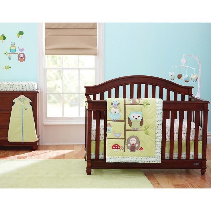 """Just Born - Babywise - 6-Piece Crib Set - Triboro - Babies""""R""""Us looks like an owl set, but its really cute and simple and not too all over the place $149.99"""
