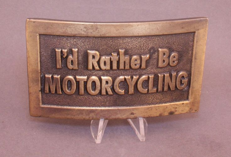 "1974 ""I'd Rather Be Motorcycling"" belt buckle by Lewis Buckles available at our eBay store! $25"