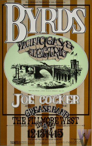 Byrds  Pacific Gas & Electric  Joe Cocker & His Grease Band    6/12-15/1969	Randy Tuten	$150 1st Print Poster