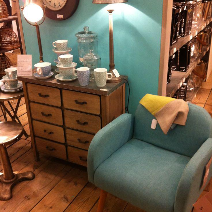 ambiance vintage pomax mo14 vintage pomax bleu style fauteuil deco salon maison. Black Bedroom Furniture Sets. Home Design Ideas