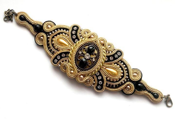 Stoffarmbänder - Armband soutache goldene Traum - ein Designerstück von Marisutasz bei DaWanda