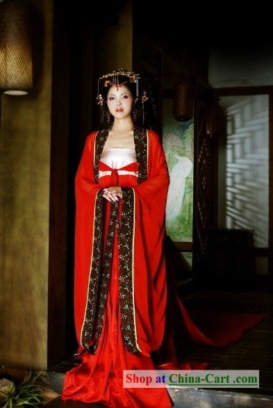 ancient chinese red bride wedding dress and hair