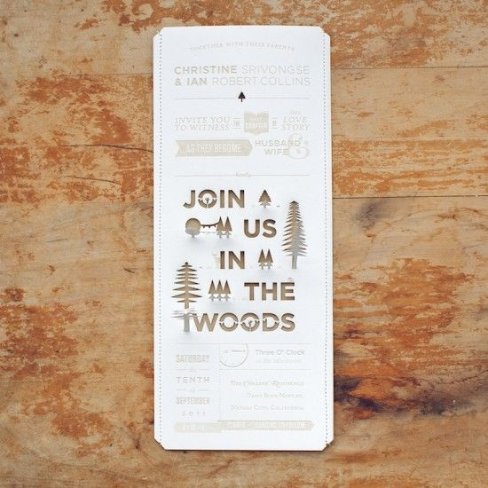 invite ah this would be cute: Cutouts, Idea, Wedding Invitations, Woods Grains, Graphics Design, Weddings Invitations, Invitations Card, Weddings Card, Cut Outs