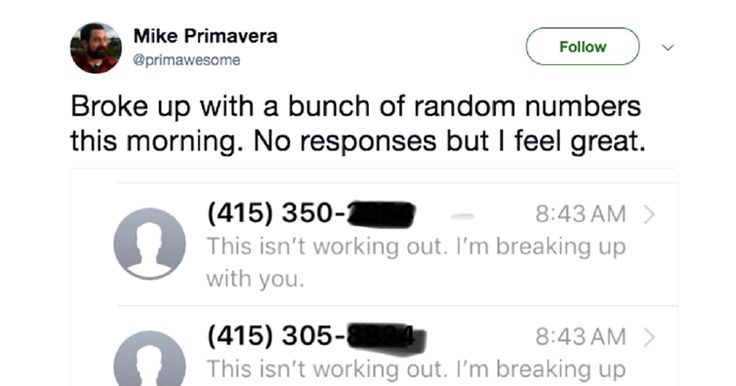 Twitter User Does Social Experiment And Breaks Up Via Text With Random Phone Numbers