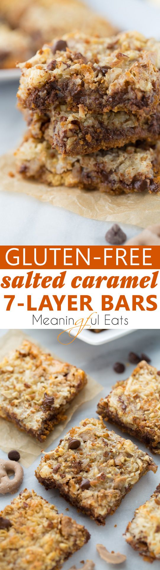 Gluten-Free Salted Caramel 7-Layer Bars! An ooey-gooey decadent treat with a sweet and salty twist. So easy to make!