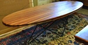 """Interiors - Provenance Auction House: A Retro """"Surfboard"""" Multiwood Coffee Table."""