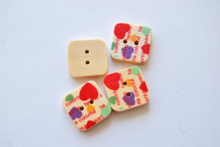 Wooden Buttons – 2x square wooden buttons – a unique product by thesecretgarden…