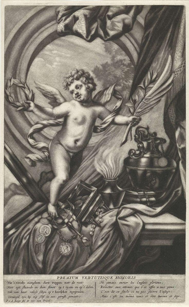Pieter van den Berge | Allegorie op de eer, Pieter van den Berge, 1686 - 1737 | Allegorie op de eer met een putto met in de hand een lauwerkrans, een palmtak en een olijftak. Op een tafel liggen een kroon, muntgeld, een parelsnoer en een ketting.