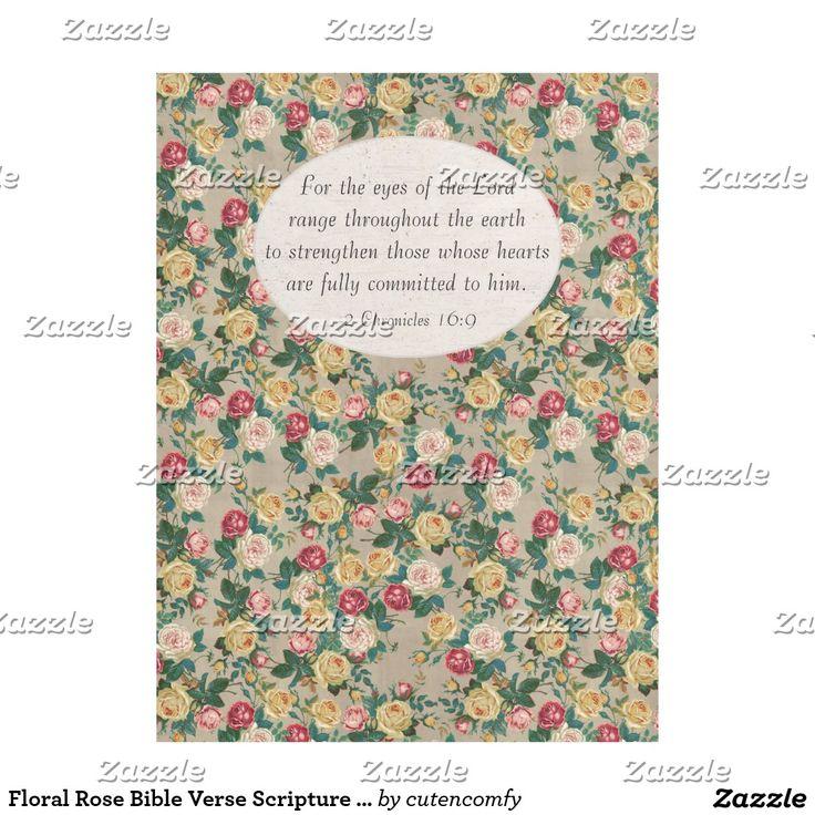 Floral Rose Bible Verse Scripture Christian Womens Fleece Blanket