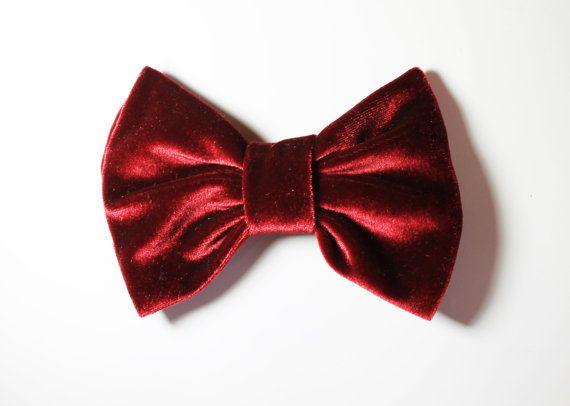 velvet red hair bowhair clips by twobirdsgirl on Etsy, $3.90