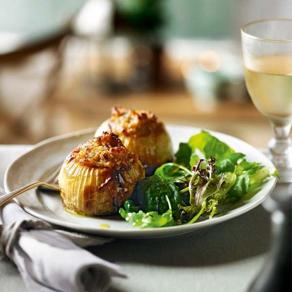 Stuffed onions make a comforting vegetarian recipe that's great for entertaining, or serve for a veggie Christmas main course that really rings the ch