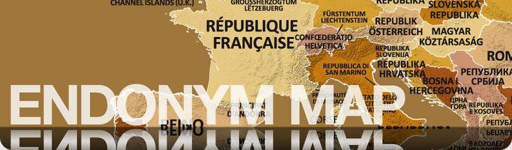 Karta där man ser ländernas namn på deras eget språk