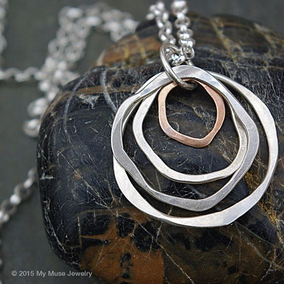 Sterling Silver Long Pendant Necklace - Silver and Bronze Circle Necklace from www.mymusejewelry.com