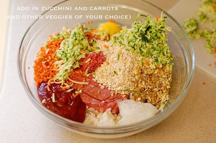 healthier version of good old meatloaf ~ oats and shredded vegetables!
