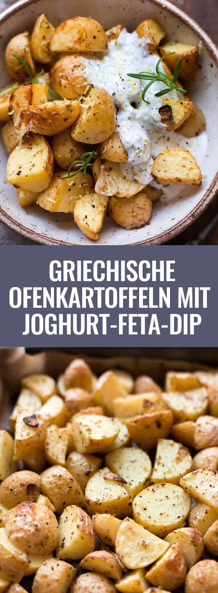 Griechische Ofenkartoffeln mit Joghurt-Feta-Dip. Dieses schnelle Rezept ist supe…