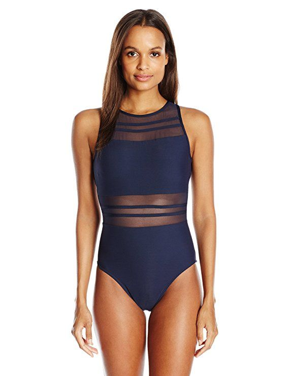 3e71fa86e4413 Jets by Jessika Allen Women's Aspire Mastectomy Empire High Neck One Piece  Swimsuit, Ink, 12
