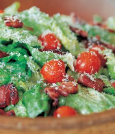 Barefoot Contessa - Recipes - Caesar Salad with Pancetta - had this tonight and it was delicious. used 3/4 cup oil instead and no anchovies, only had one lemon so used champagne vinegar instead. still yummy!