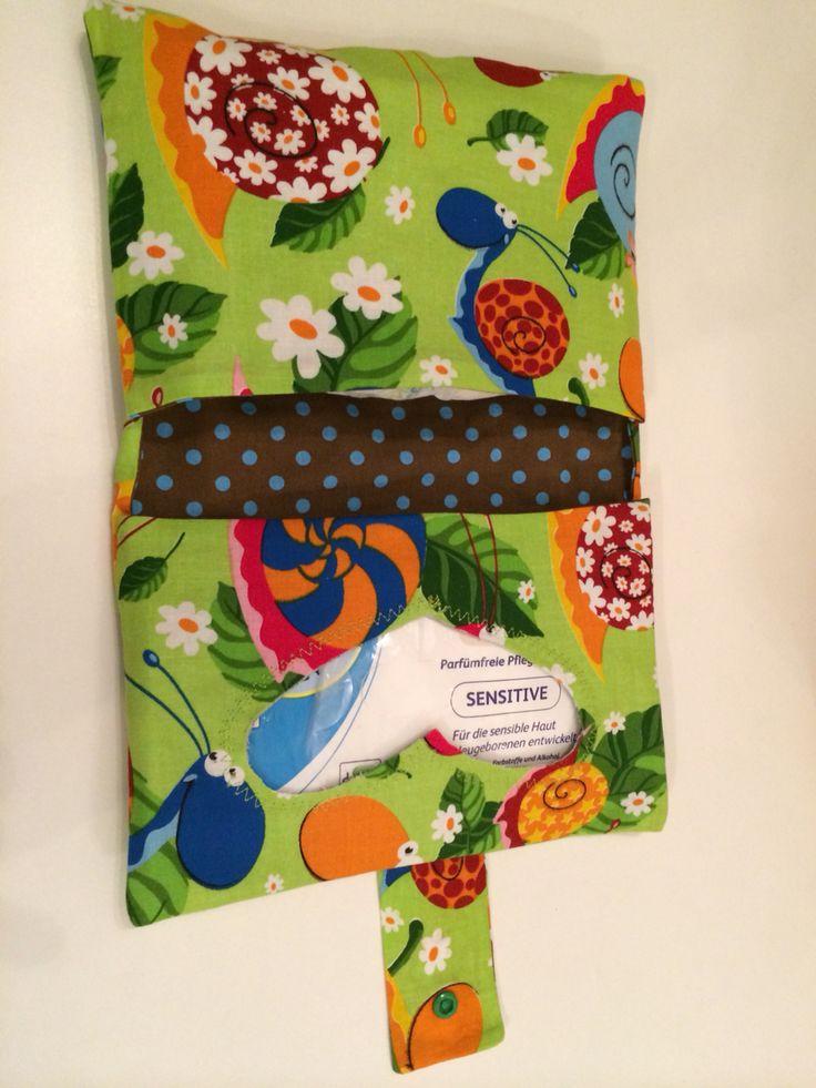 Kleine Wickeltasche Schnecke  Für Pampers und Feuchttücher selbst genäht