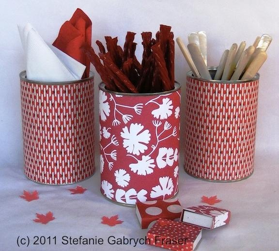 Recycle Cans into Canada Day Party Containers