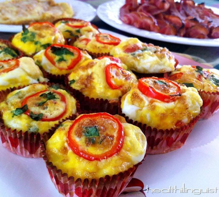 Spinach & Cheese Omelette Cups  @Healthi linguist
