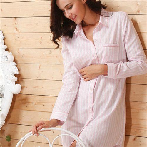 2016 Brand Striped Cotton Nightgowns Sleepwear Female Sleep Lounge Women Indoor Clothing Sexy Pink Home Dress Nightdress