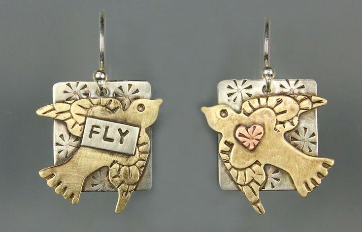 Flying Bird Earrings - Mixed Metal Bird Earrings - Silver Bird Earrings - RP0169ER by riverpathstudio on Etsy https://www.etsy.com/listing/99195485/flying-bird-earrings-mixed-metal-bird