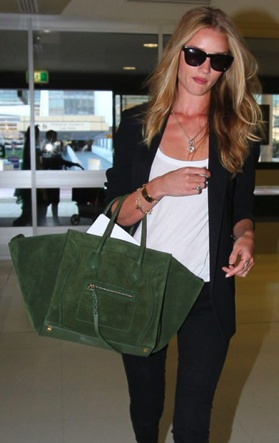 Rosie Huntington with the Celine Suede Phantom Bag - Fall 2012 ...