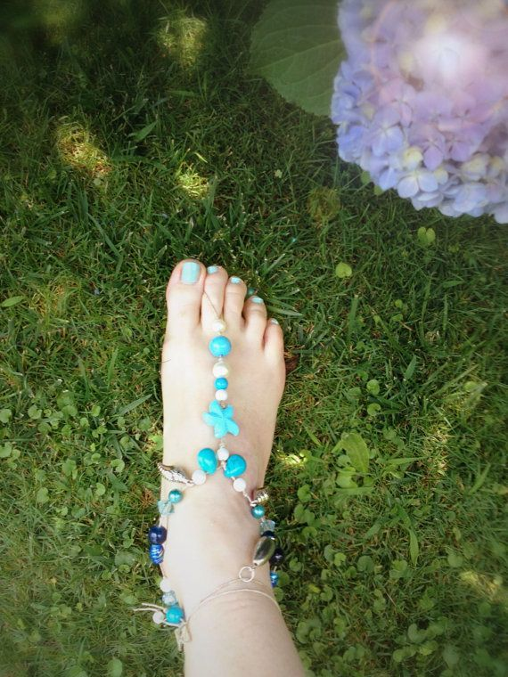 barefoot sandals anklets linen turquoise silver by EmeraldsDreams, $30.00
