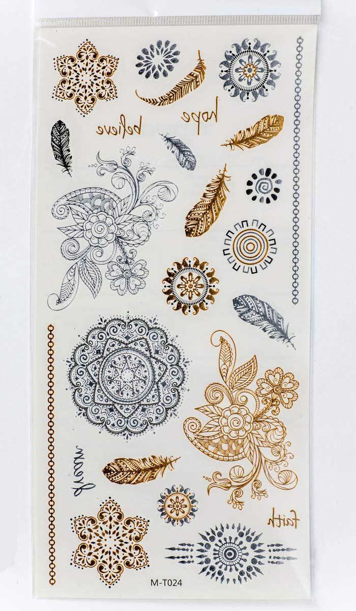 Наклейки на тело в этническом стиле, флеш тату, тату переводка, мехенди, Flash Tattoos - Jewelry-Inspired Metallic Temporary Tattoos. 270 рублей