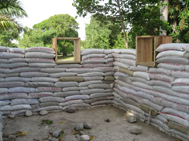 Earthbag construction is an inexpensive method used to build strong, stable structures, using primarily locally available materials. It evolved from military bunker construction techniques. Earthbag construction requires only very basic materials: woven polypropylene sacks, on site fill material, water to moisten the fill material so it can be shaped, and four-pronged barbed wire for reinforcent. It can be used to construct emergency shelters, or in dry climates to create permanent housing.