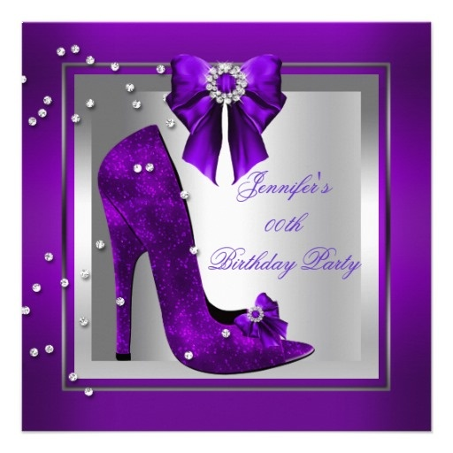High heel shoe silver purple birthday party announcements
