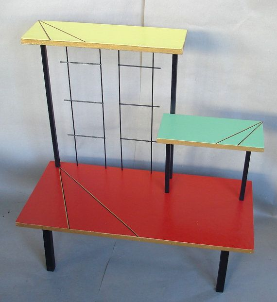 50s Vintage PLANT STAND Display Multicolor TABLE German Mid Century Mod Ära
