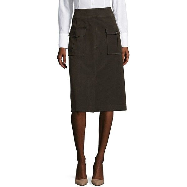 Lord & Taylor Women's Army Mid Skirt ($23) ❤ liked on Polyvore featuring skirts, rainforest, army skirt, brown skirt, long brown skirt, long skirts and military skirts