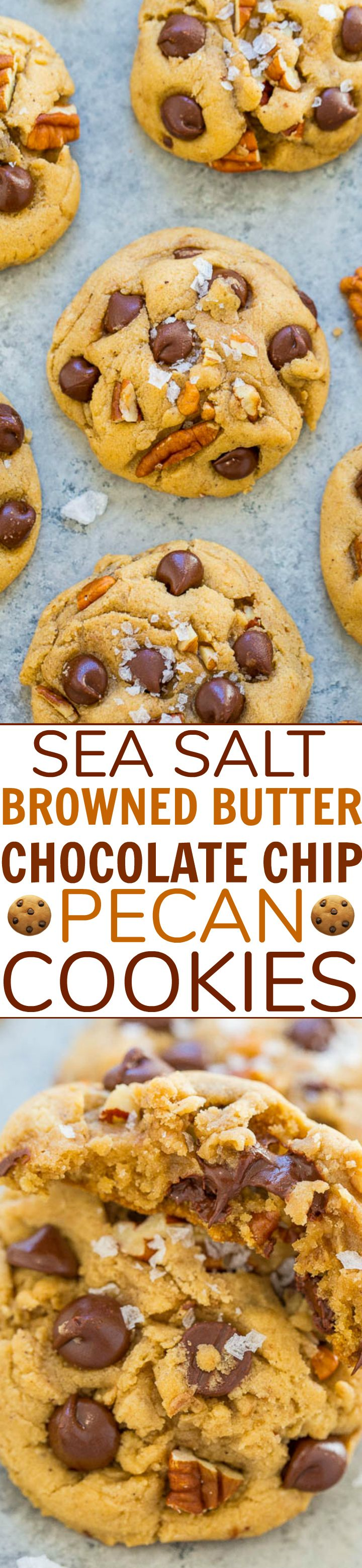 Sea Salt Browned Butter Chocolate Chip Pecan Cookies – Super soft, perfectly chewy, SALTY-AND-SWEET chocolate chip cookies that are AMAZING!! An EASY, one-bowl, no-mixer recipe!!