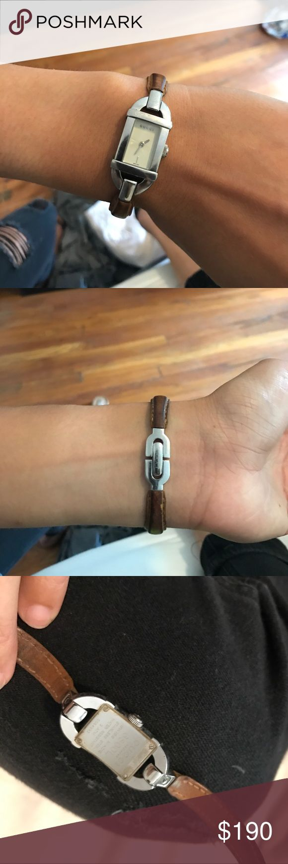 Gucci Stainless and Leather 6800I Watch Gucci designer ladies watch 6800I, brown leather band, stainless steel case, quartz movement. Marked on back with details. EUC. Love it but don't wear now that I have an Apple Watch. Gucci Accessories Watches