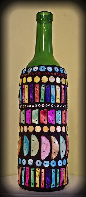 Tropical mosaic wine bottle by Meaco's Art Garden, via Flickr