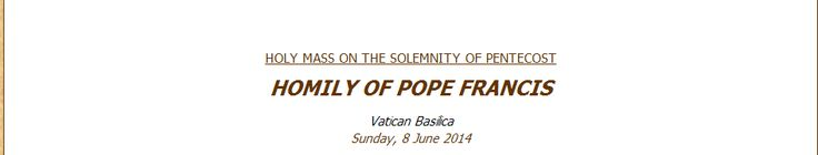 homily pentecost sunday 2014