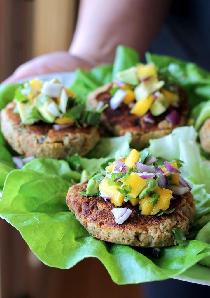 Jalapeno Chickpea Lentil Burgers with Sweet Mango Avocado Pico {vegan, gluten-free}