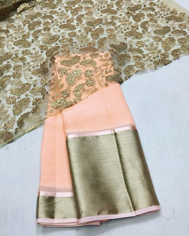 Peach chiffon saree with gold emboridery blouse To purchase mail us at houseof2@live.com  or whatsapp us on +919833411702 for further detail #sari #saree #sarees #sareeday #sareelove #sequin #silver #traditional #ThePhotoDiary #traditionalwear #india #indian #instagood #indianwear #indooutfits #lacenet #fashion #fashion #fashionblogger #print #houseof2 #indianbride #indianwedding #indianfashion #bride #indianfashionblogger #indianstyle #indianfashion
