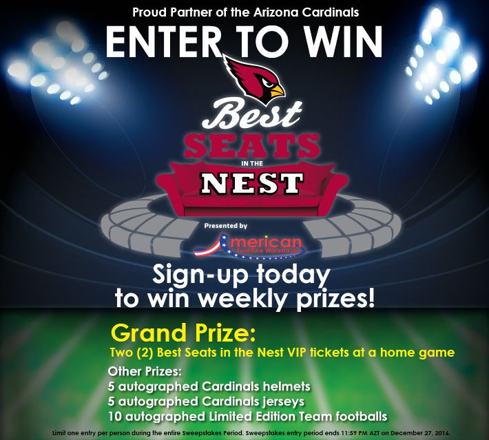 Boy, have we got a treat for you, Arizona! Come into one of our two AZ stores this weekend for the chance to win tickets to see the Arizona Cardinals at a home game this season
