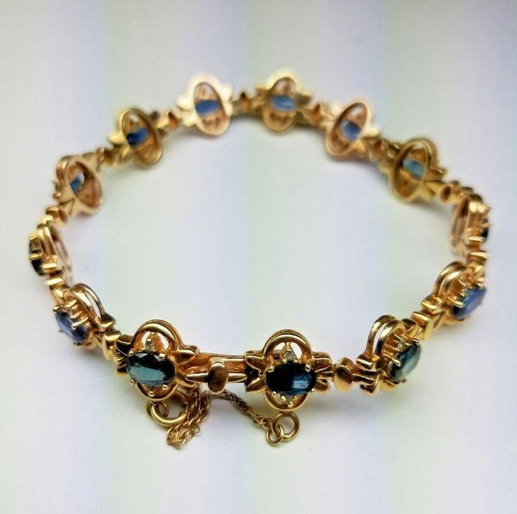 Beautiful 14K Yellow Gold Ladies Bracelet With 6ctw Blue Sapphire And Diamonds